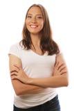 T-shirt branco vestindo da jovem mulher Imagens de Stock