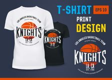 T-shirt with branding of basketball knight team. Branding of basketball knight team on black and white t-shirts. LA sport team badge on u-neck cloth. Sportswear Stock Photos