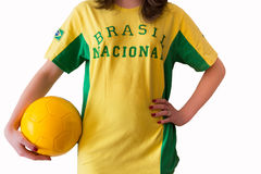 T-shirt brazil. A yellow t-shirt for the world championship in Brazil Royalty Free Stock Images