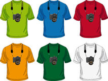 T-shirt with camera. Six colored men's T-shirt with the image of the camera on them Royalty Free Stock Photos