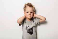 T-shirt with camera on a cute boy Royalty Free Stock Images