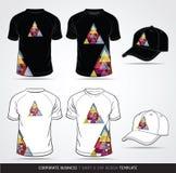 T-shirt and cap Design Template stock illustration