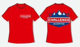 T-shirt with challenge quote. Flat identity mock up template of T shirt. Motivational Quote  Challenge Accepted. Business Logo Concept.  Idea design for Stock Image