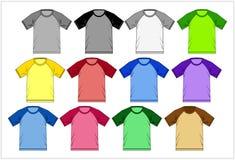 T-shirt 02 colorés raglans, vecteur Photographie stock libre de droits
