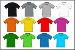 T-shirt 03 colorés raglans, vecteur Photo stock