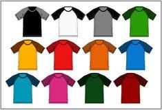 T-shirt 05 colorés raglans, vecteur Photos stock