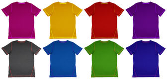 T-Shirt colorful with seam. Colorful T-Shirts with seam isolated on white background stock photo