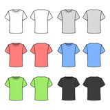 T-shirt coloridos ajustados no fundo branco Vetor Foto de Stock Royalty Free
