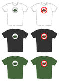 T-shirt com o emblema da folha do cannabis Foto de Stock