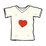 T-shirt comique de bande dessinée avec le coeur d'amour Images stock