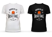 T-shirt cotton sportswear with basketball theme. Adult or teenager wear with ball and basket saying brooklyn new york or NYC. Can be used for sport shop Stock Photos