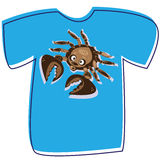 T-shirt with a crab on white Stock Photos
