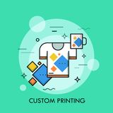 T-shirt and cup with same print. Branded and promotional products, custom printing service and merchandising concept. Vector illustration for brochure vector illustration