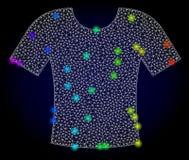 T-shirt da malha do vetor 2D com os pontos coloridos arco-íris do brilho ilustração royalty free