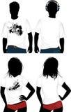 T-shirt da mulher e do homem. Imagem de Stock
