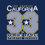 T-shirt de Los Angeles, graphique de la Californie, conception d'emblème de sport Image stock