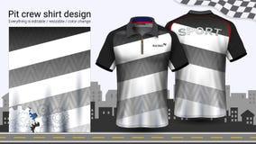 T-shirt de polo avec la tirette, emballant le calibre de maquette d'uniformes pour l'usage actif et l'habillement de sports illustration libre de droits