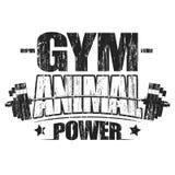 T-shirt de sport de Barbell Emblème de gymnase Vecteur Images libres de droits