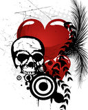 T-shirt design. Illustration of a scull, red hearts and floral elements Royalty Free Stock Photography