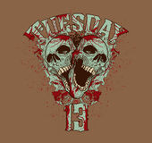 T-shirt Design. An illustration of two skulls with the word Tuesday on top and the number 13 on the bottom Royalty Free Stock Photography