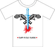 T-shirt Design. Two Guns and Dagger Royalty Free Stock Photography