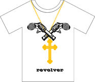 T-shirt Design. Two Guns & a Cross - T-shirt Design Royalty Free Stock Photo