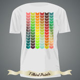 T-shirt design with abstract colorful arrows Stock Image