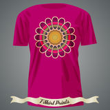 T-shirt design with abstract colorful flower Royalty Free Stock Photos