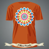 T-shirt design with abstract colorful flower Royalty Free Stock Image