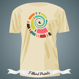 T-shirt design with abstract colorful spiral Royalty Free Stock Photo