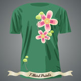 T-shirt design with abstract flowers Stock Photo