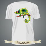 T-shirt design with abstract green chameleon Stock Photo