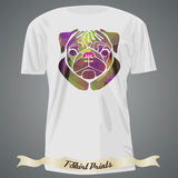 T-shirt design with abstract image of pug Stock Image