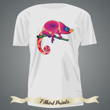 T-shirt design with abstract pink chameleon Stock Photography