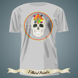 T-shirt design with abstract skull with flower in circle frame Royalty Free Stock Photo