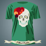 T-shirt design with abstract skull with red flowers Royalty Free Stock Photo