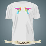 T-shirt design with abstract triangle birds Stock Image