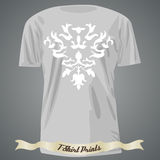 T-shirt design with abstract white ornament Royalty Free Stock Images