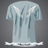 T-shirt design with abstract wing on the back side. Illustration royalty free illustration