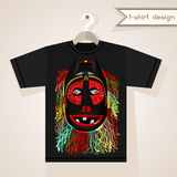 T-Shirt Design With African Mask. Black t-shirt with fancy fringed mask. Print design. African native style clothing Stock Images