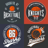 T-shirt design for basketball fans for usa new york brooklyn street team, knights college team and chicago raiders. With balls emblems. Can be used for banner Royalty Free Stock Photos