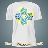 T-shirt design with blue exotic ornate cross on the yellow spot Stock Photo
