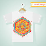 T-Shirt Design With Bright Tribal Pattern Royalty Free Stock Photos