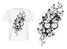 T-shirt design butterflys Stock Images