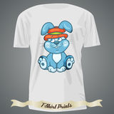 T-shirt design with cartoon of baby bunny Royalty Free Stock Photography