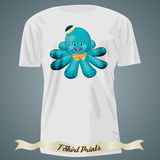 T-shirt design with cartoon of baby octopus in hat Royalty Free Stock Photos