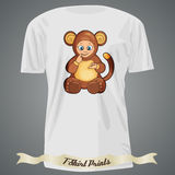 T-shirt design with cartoon of cute baby monkey Royalty Free Stock Photo