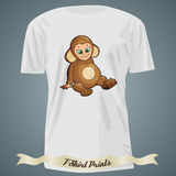 T-shirt design with cartoon of cute baby monkey Royalty Free Stock Photos