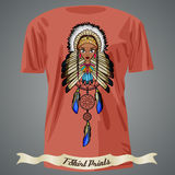 T-shirt design with  Cartoon of Indian Native American Girl with Royalty Free Stock Photography