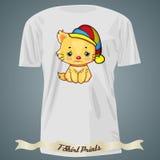T-shirt design with cartoon of sad kitten in hat Stock Photo